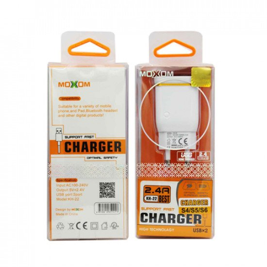 Moxom KH-22 Charger Top (2.4A) Dual Output - Premium Quality