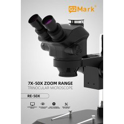 G2Mark RE-50X 7X~50X Trinocular Stereo Microscope With Camera Option & 0.5X CTV Lens With LED Adjustable Light Exclusive Quality - Black Color
