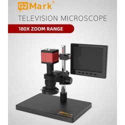 G2Mark RE-100 Television 180X Zoom Microscope With 20MP Dual Output Camera