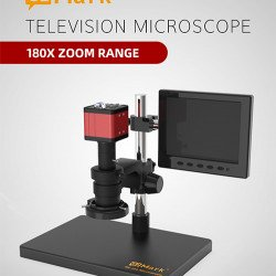 G2Mark RE-100 Television 180X Zoom Microscope With 0.5X Height Lens & 20MP Dual Output Camera