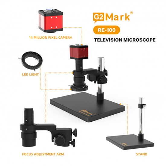 G2Mark RE-100 Television 180X Zoom Microscope With 20MP Dual Output Camera ( Without Monitor )