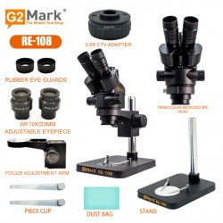 G2Mark RE-108 7X-45X Trinocular Stereo Microscope With Zooming 0.5X CTV Camera Lens & LED Adjustable Light Exclusive Quality - Black Color