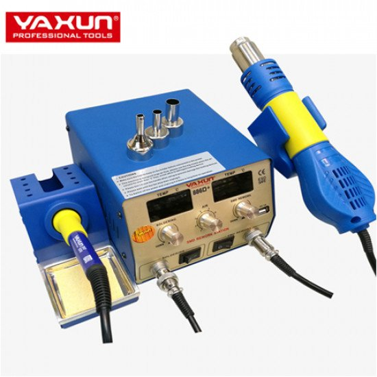 YAXUN 886D+ 2 in 1 SMD Hot Air & Soldering Station 220V /110V BGA Rework Station Automatic Off With 5V-1A USB