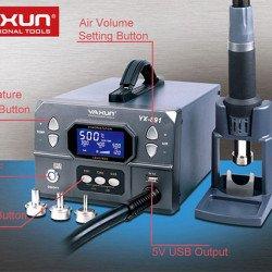 YAXUN YX-891 Professional Lead-Free Hot Air Gun Soldering Station Intelligent Digital Display 1000W High Power Rework Station