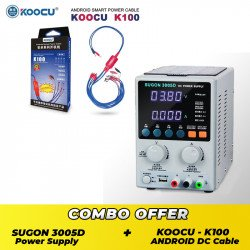 SUGON 3005D Adjustable Digital DC Power Supply ( 30V~5A ) With Koocu K100 Multi Android Power Cable - Combo Offer