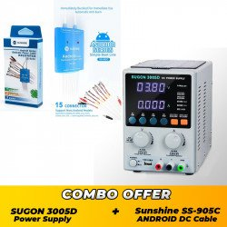 SUGON 3005D Adjustable Digital DC Power Supply ( 30V~5A ) With Sunshine SS-905C Multi Android Power Cable - Combo Offer