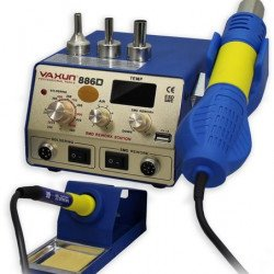 YAXUN 886D 2 in 1 SMD Hot Air & Soldering Station 220V /110V BGA Rework Station Automatic Off With 5V-1A USB
